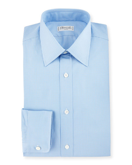 Charvet Small Check Dress Shirt, Blue