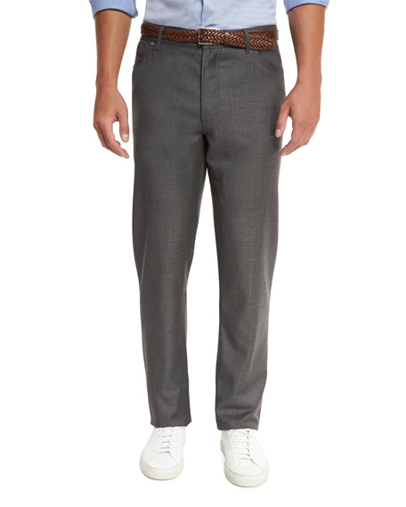 Brunello Cucinelli Wool Grisaille Five-Pocket Pants, Gray