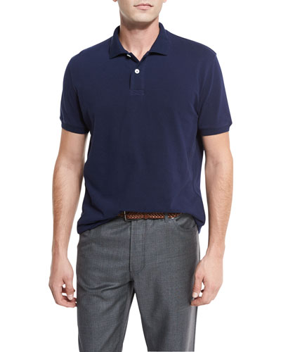 Pique Polo Shirt, Navy