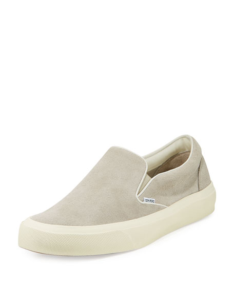 TOM FORD Cambridge Suede Slip-On Sneaker, Light Gray