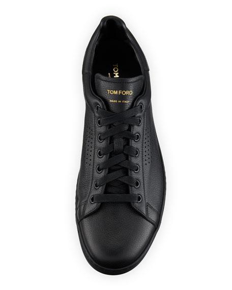 Men's Warwick Grained Leather Low-Top Sneakers, Black