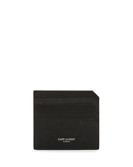 Saint Laurent Men's Fragments Leather Credit Card Holder,