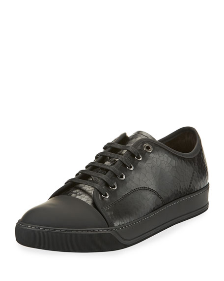 Lanvin Men's Cap-Toe Crackle Leather Low-Top Sneaker, Black