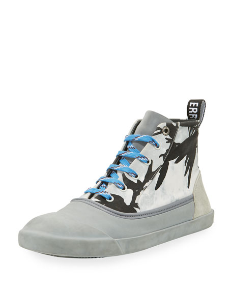 Lanvin Men's Jungle-Print High-Top Sneakers, Black