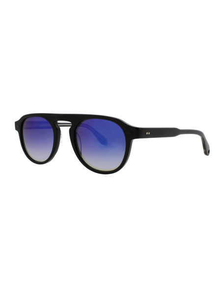 Garrett Leight Harding 47 Round Sunglasses, Black