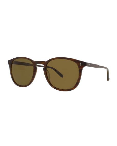 GARRETT LEIGHT Kinney 49 Square Polarized Sunglasses, Matte Brandy Tortoise in Brnady