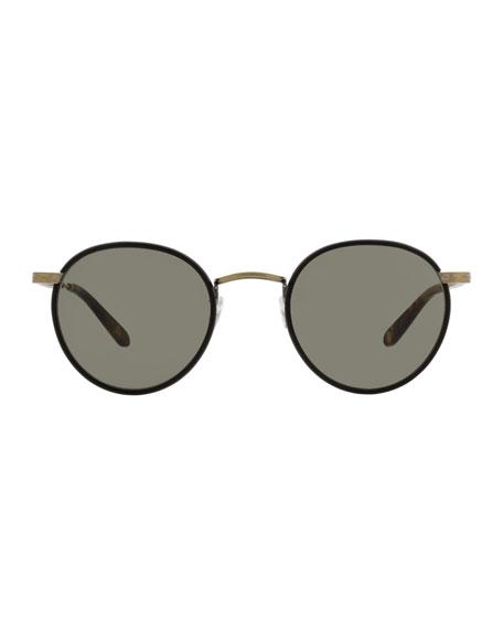 Wilson 49 Round Sunglasses, Matte Black/Matte Spotted Tortoise