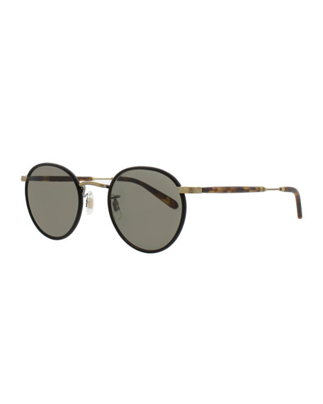 Garrett Leight Wilson 49 Round Sunglasses, Matte Black/Matte