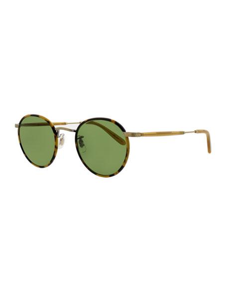 Garrett Leight Wilson 49 Round Sunglasses, Tokyo Tortoise/Amber