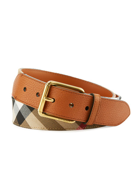 Burberry Mark House Check & Leather Belt, Russet