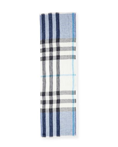 Lightweight Check Linen Scarf, Chalk Blue