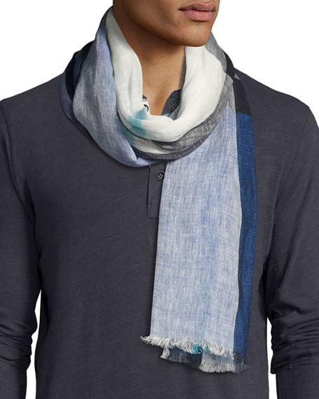 Lightweight Check Linen Scarf, Chalk Blue