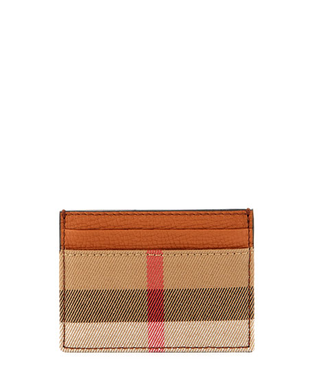Burberry Sandon House Check & Leather Card Case,