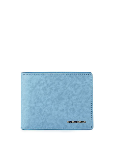 Burberry London Leather Bi-Fold Wallet, Powder Blue