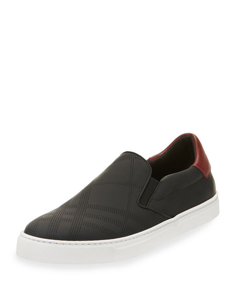 Burberry Copford Perforated Check Leather Slip-On Sneaker, Black