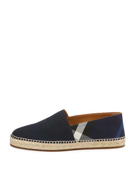 Men's Pateman Canvas Check Espadrille, Indigo Blue