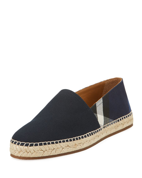 Burberry Men's Pateman Canvas Check Espadrille, Indigo Blue
