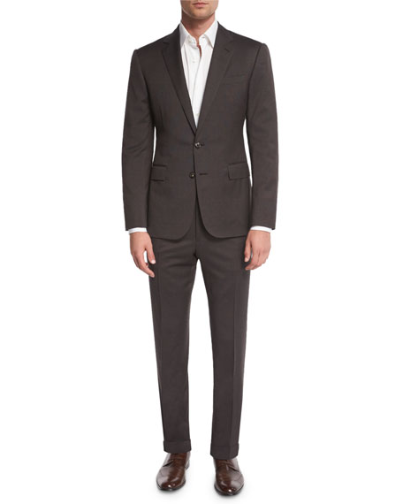Ralph Lauren Anthony Houndstooth Two-Piece Suit, Olive