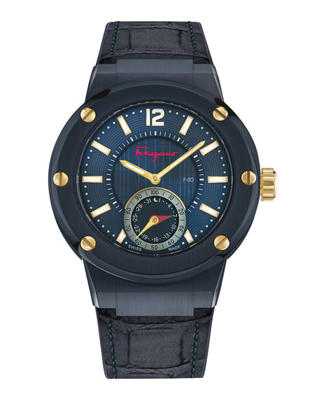 Salvatore Ferragamo F-80 Croc-Embossed Smart Watch, Blue