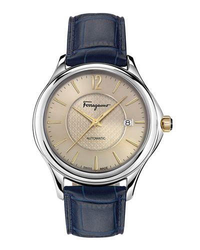 Ferragamo Time 41mm Stainless Steel Watch, Beige