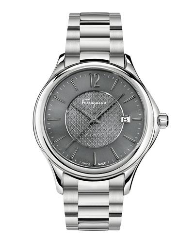 Ferragamo Time 41mm Stainless Steel Watch, Gray