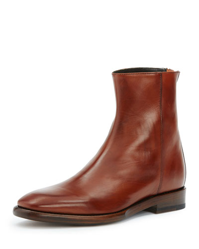 Wright Back-Zip Leather Boot, Black