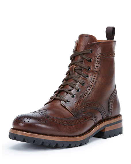 Frye George Lugged Brogue Lace-Up Boot, Cognac