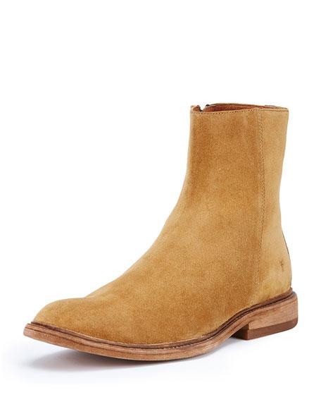 Frye Chris Inside-Zip Suede Boot, Wheat