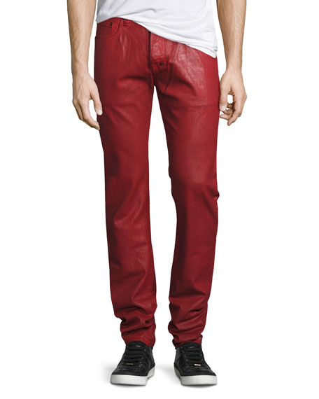 Demon Heavy Resin-Coated Jeans, Red