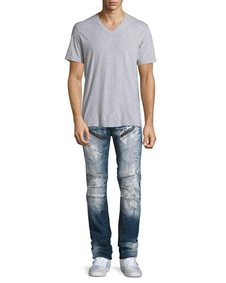 Distressed Moto Jeans w/Paint, Indigo