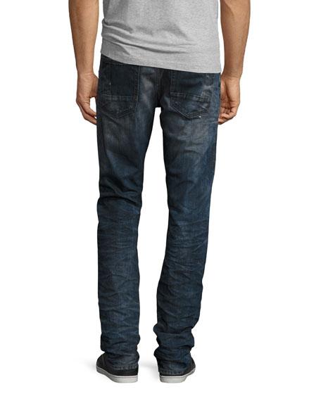 Demon Slashed 3D Crinkle Denim Jeans, Indigo