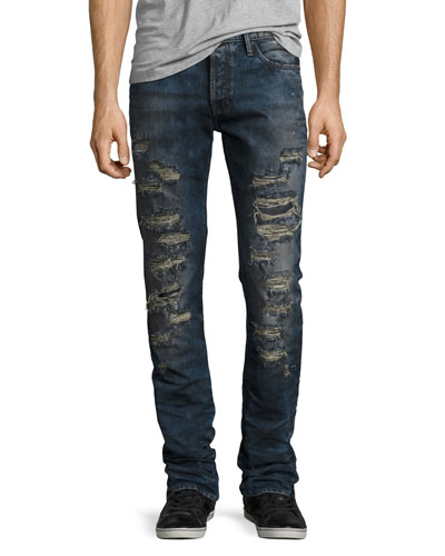 Demon Slashed 3D Crinkle Denim Jeans, Indigo