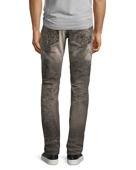 Demon Scribbled-Detail Relaxed-Slim Jeans, Gray