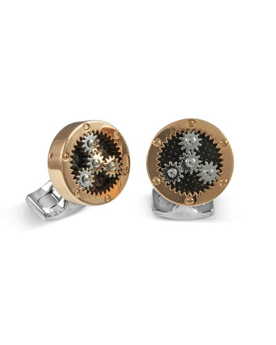 Sun & Planet Rose Golden Gear Cuff Links