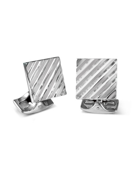Deakin & Francis Square Engine Turned Cuff Links