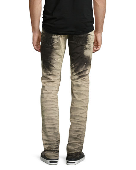 Demon Bleach-Treated Relaxed-Slim Jeans, Black