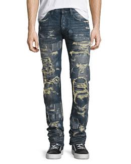 Super-Distressed Rip Repair Denim Jeans, Indigo
