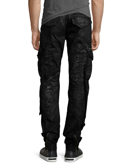 Resin-Coated Cargo Pants, Black