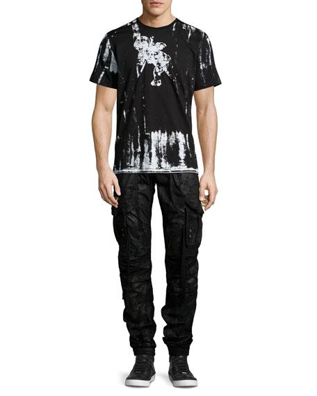 Resin-Coated Cargo Pants, Black