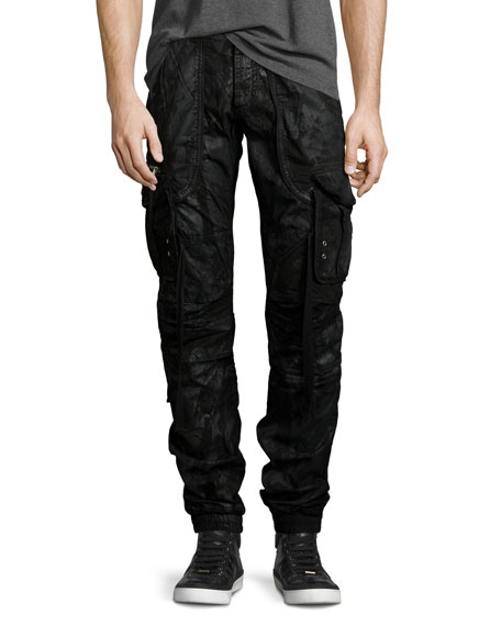 PRPS Resin-Coated Cargo Pants, Black
