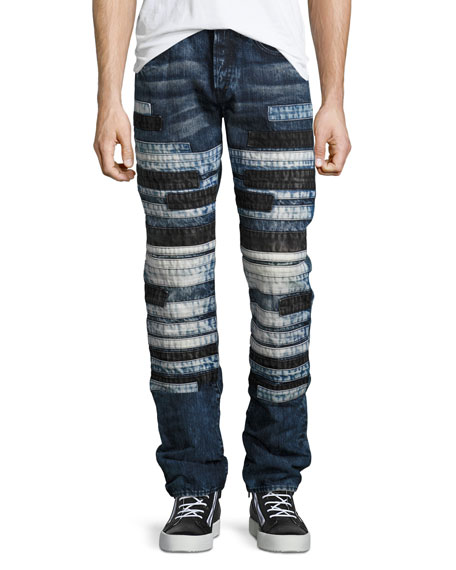 Horizontal-Patchwork Relaxed-Slim Jeans, Indigo