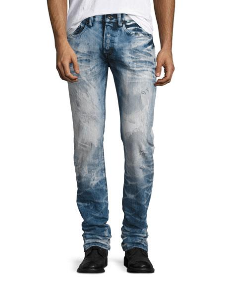 Bleached & Water-Treated Denim Jeans, Indigo