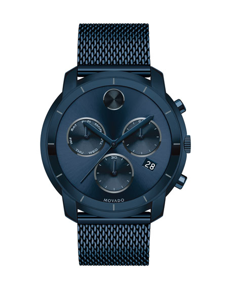 44mm Bold Watch with Mesh Bracelet, Navy