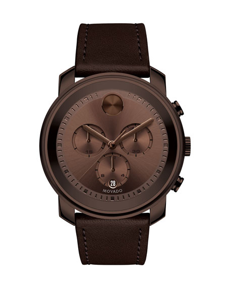 Movado 44mm Bold Chronograph Leather Watch, Brown