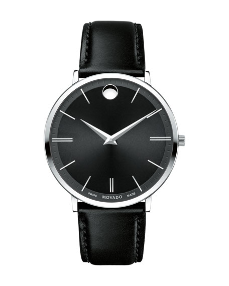 40mm Stainless Steel & Leather Ultra Slim Watch, Black