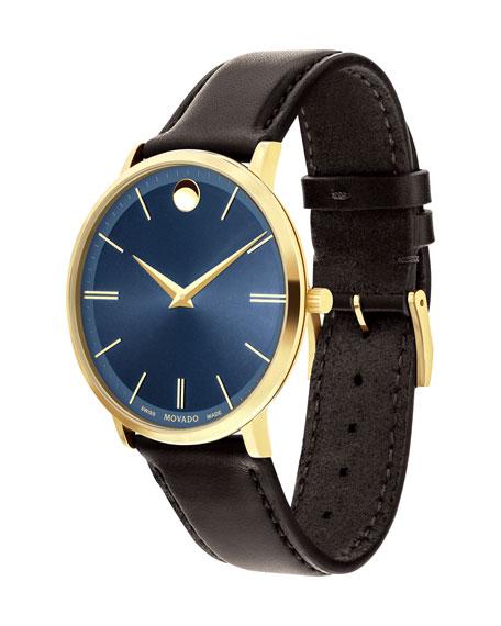 40mm Yellow Gold Ultra Slim Watch, Brown
