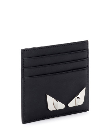 Monster Eyes Leather Card Case, Black