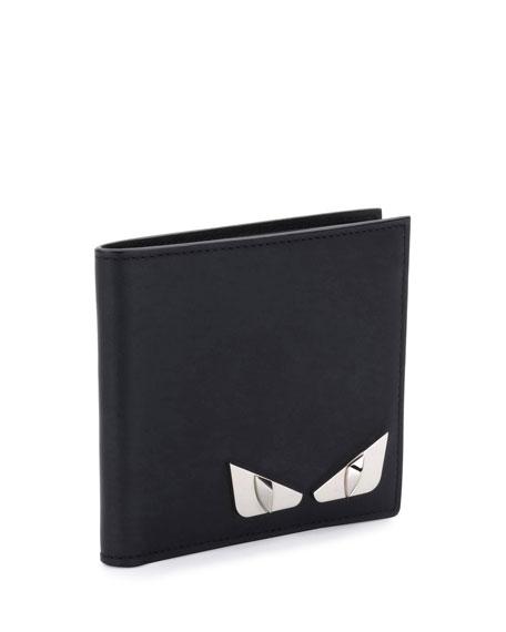 Monster Eyes Leather Bi-Fold Wallet, Black