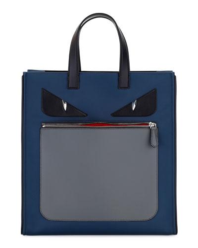 fendi designer belts ol0b  Monster Neoprene & Leather Tote Bag, Blue/Gray