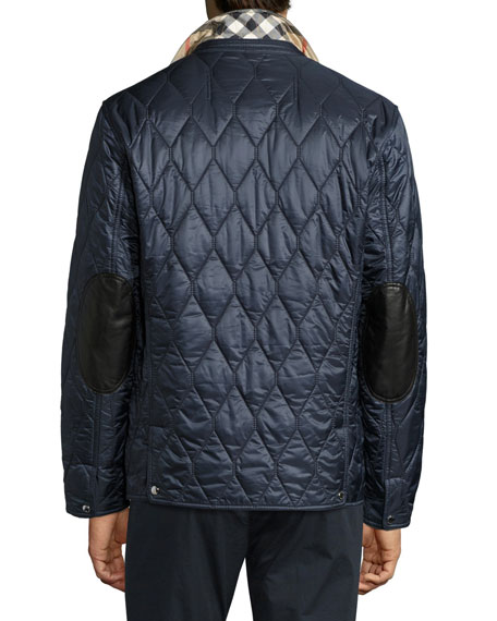 Gillington Leather-Trim Quilted Blazer